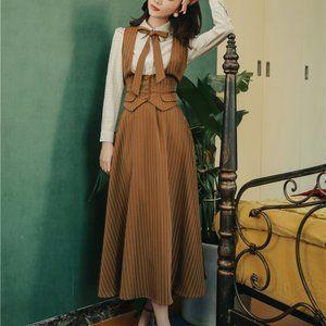 Blouse + Vest + Skirt Stripe 3 Piece Sets